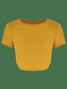 De Acanalado Punto Top Amarillo Brillante M Recortado OgwA8q