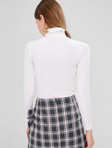 S Blanco Acanalada Ajustada De Camiseta Cuello Alto YXvxq