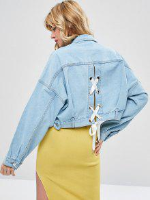 Jeans Con Cordones Mezclilla Azul Chaqueta S De De v74YnTnW