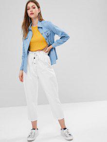 De Azul Cambray De Jeans Con Bolsillos Camisa De Xl Solapa vqYv0