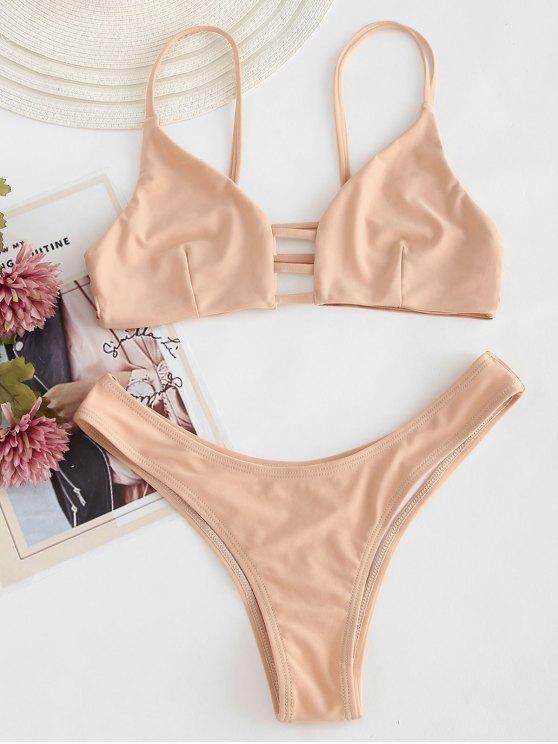 outfit Strappy Bralette Bikini Set - APRICOT M