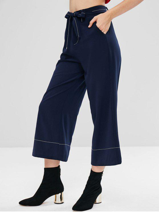 women Belted Capri Wide Leg Pants - MIDNIGHT BLUE L