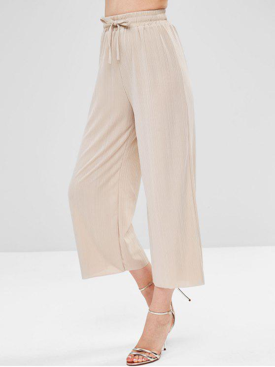Pantalones de pierna ancha con dobladillo sin rematar - Crema de Crystal Única Talla