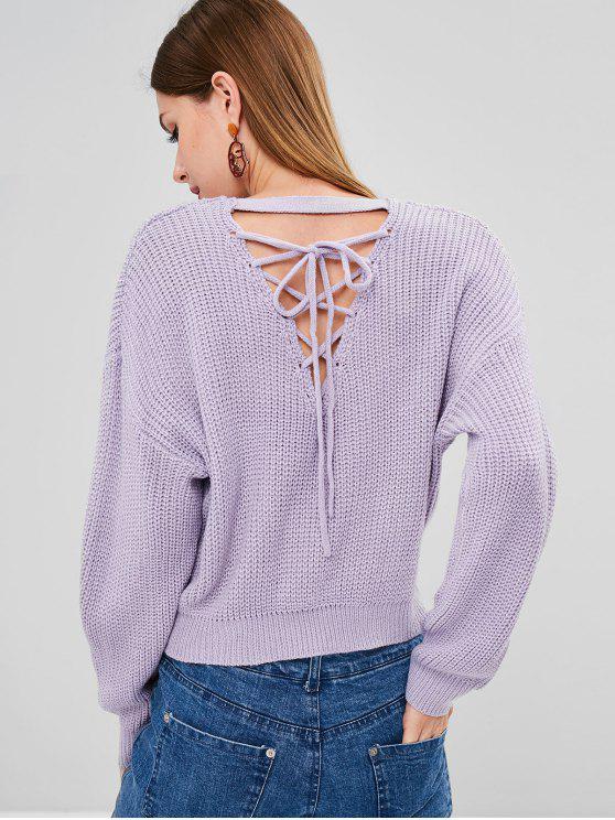 Atrás Lace Up Chunky Knit weater - Azul Lavanda Única Talla