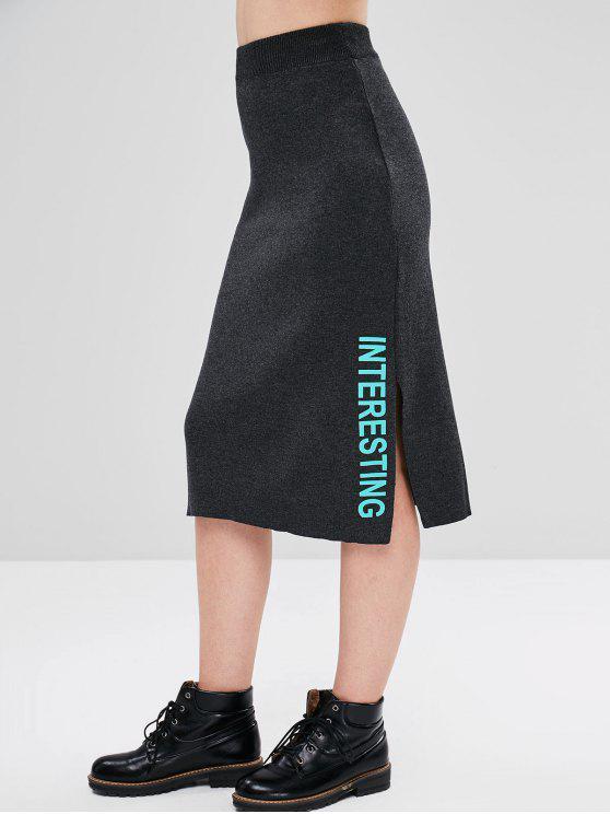 womens Interesting Graphic Knit Skirt - DARK GRAY ONE SIZE