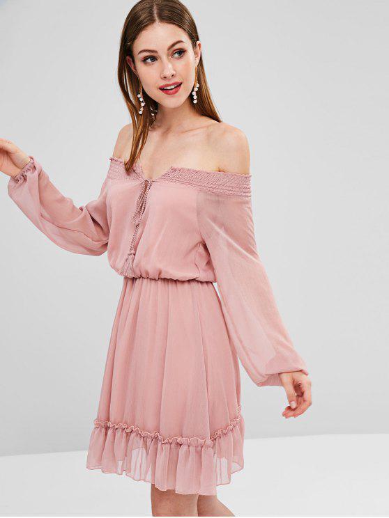Borla Smocked vestido fora do ombro - Cor de Caqui Roxo XL