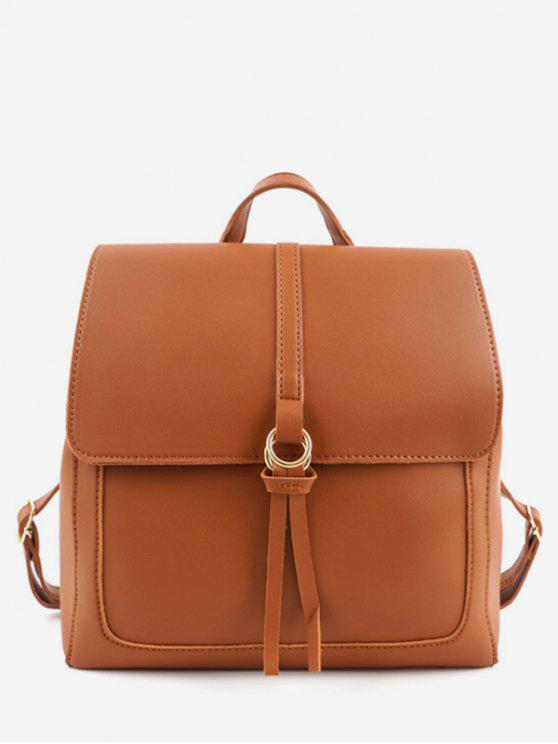 shops PU Leather Functional Travel Backpack - BROWN