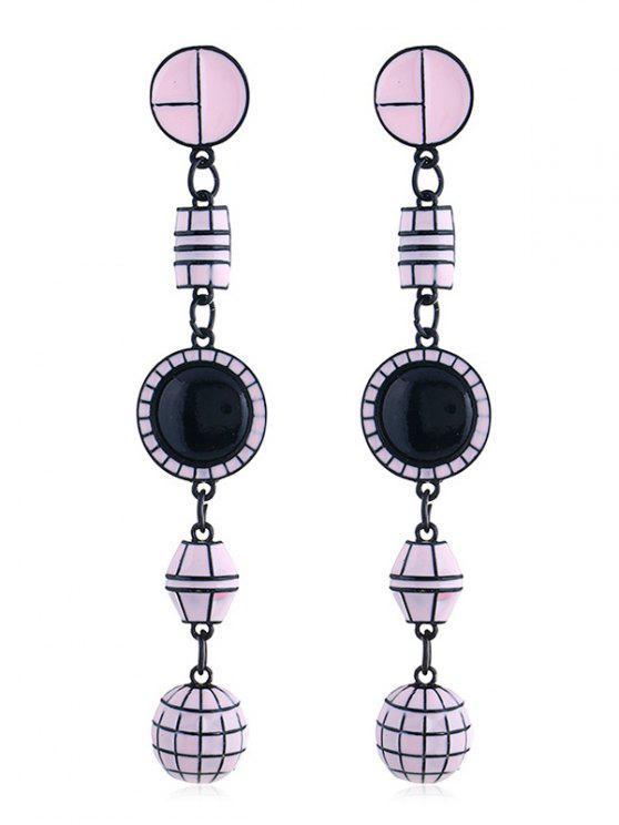 Forma geométrica largos colgantes pendientes - Rosado