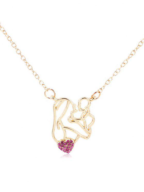 Rhinestone figura corazón colgante collar - Rosa Roja