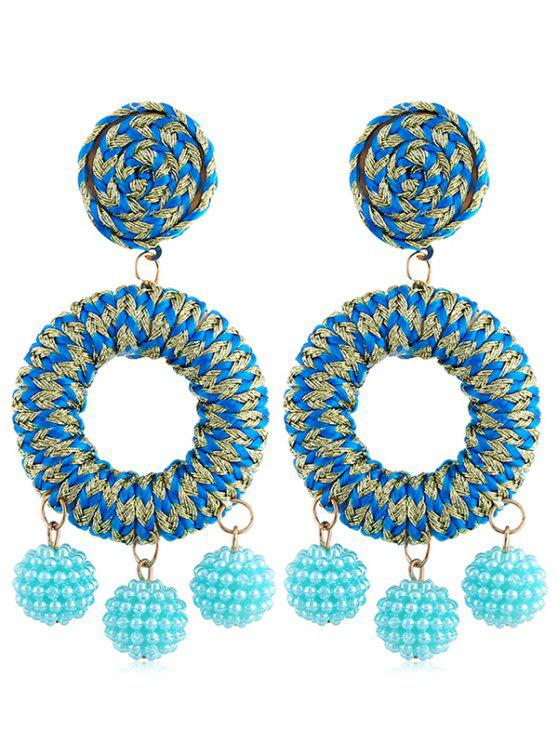shop Bohemian Beads Ball Drop Earrings - DEEP SKY BLUE
