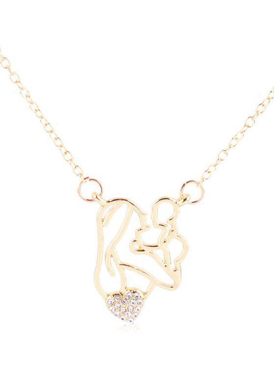 Strass Figur Herz Anhänger Halskette - Weiß