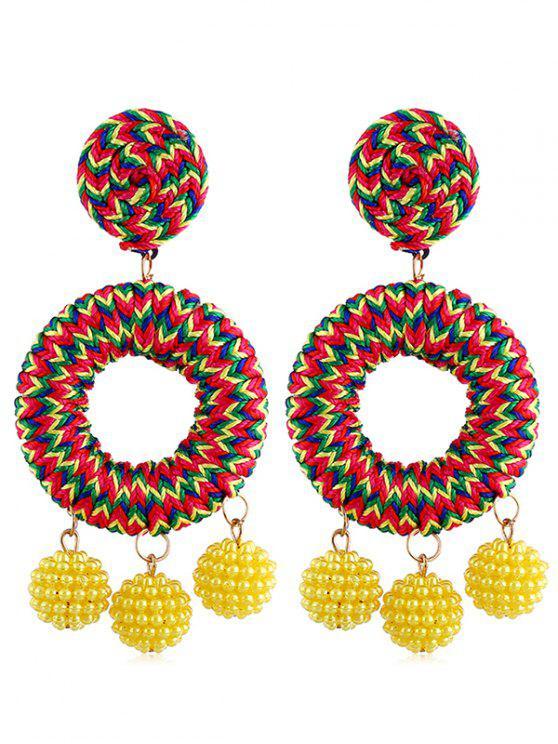 Bohemian Beads Ball Drop Earrings - Amarillo