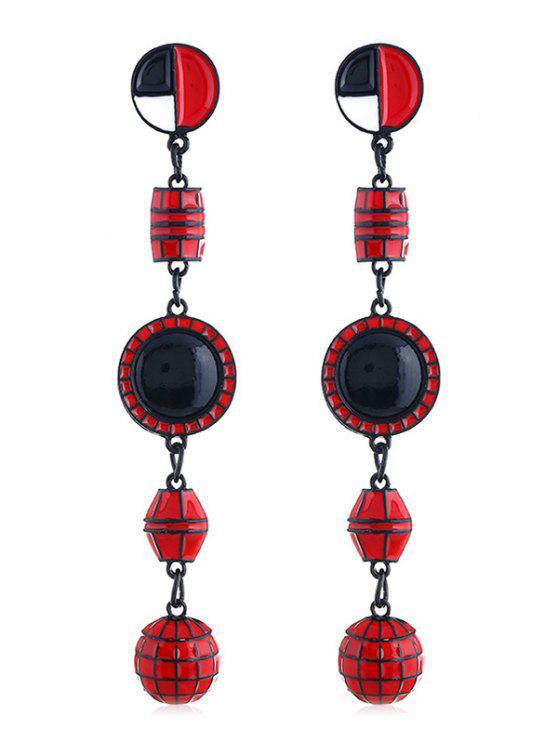 Geometrische Form lange hängenden Ohrringe - Rot