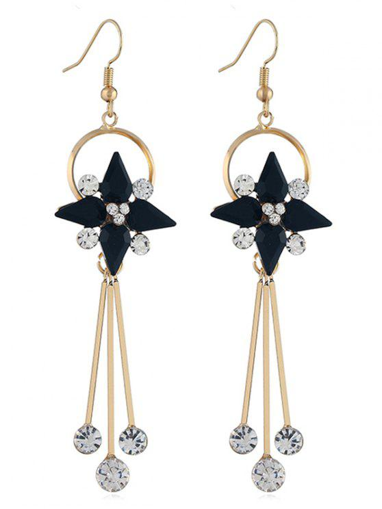 outfit Floral Shape Rhinestone Tassel Hook Earrings - BLACK