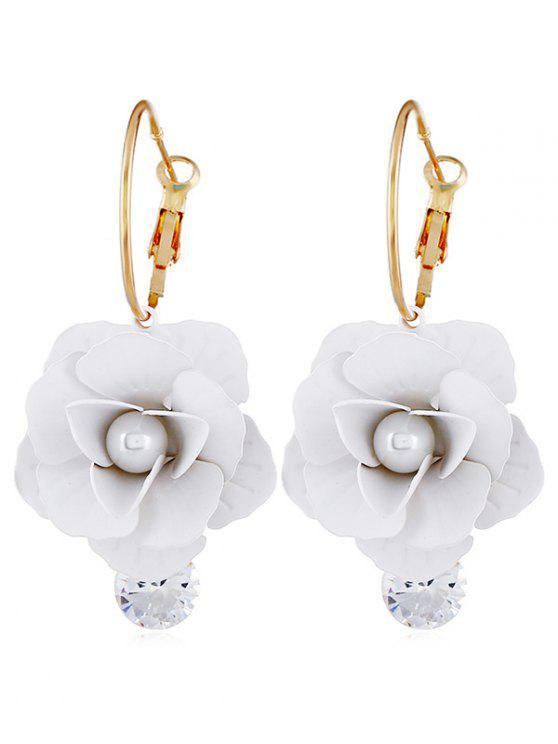 buy Artificial Pearl Floral Design Rhinestone Earrings - WHITE
