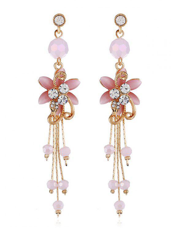 Strass Blume Perlen Quaste lange hängende Ohrringe - Schwein Rosa