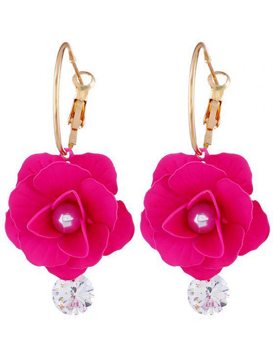 Brincos de strass design floral pérola artificial - Rosa vermelha