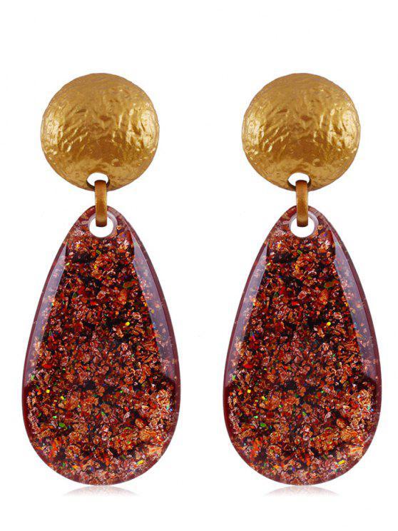 trendy Ethnic Teardrop Resin Earrings - CHESTNUT RED