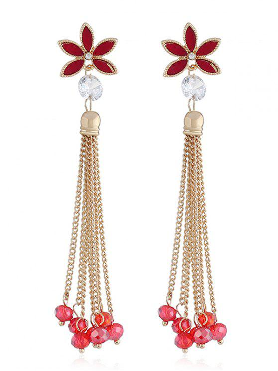 fashion Floral Design Beads Chain Tassel Earrings - RED