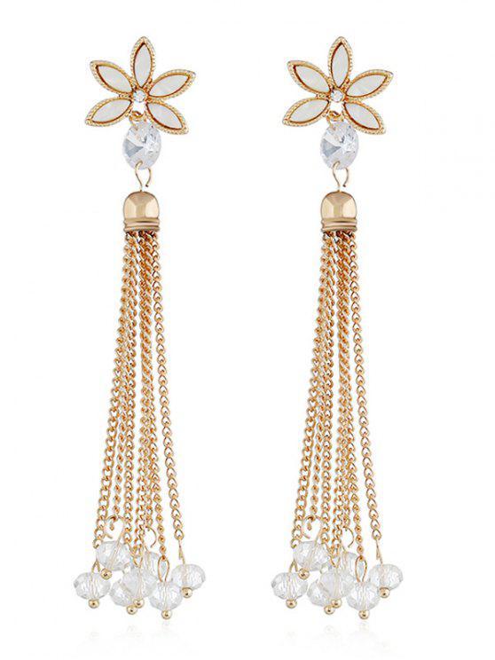 Brincos de borla de cadeia de grânulos de design floral - Branco