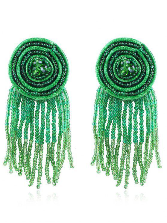 Böhmische Perlen Quasten Ohrringe - Käfer Grün