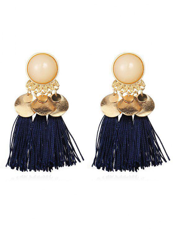 affordable Bohemian Disc Tassels Earrings - MIDNIGHT BLUE
