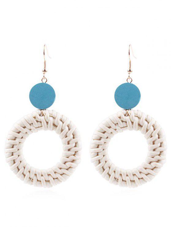 Kreis-Stroh-Tropfen-Ohrringe - Blaue Koifisch