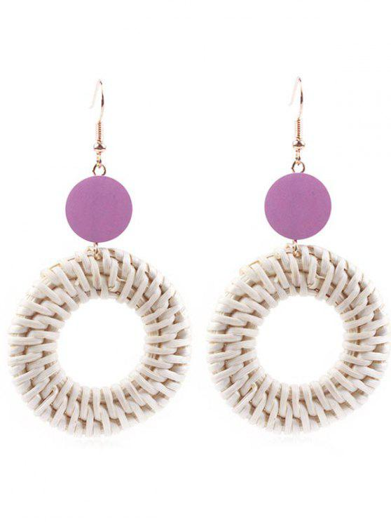 Circle Straw Drop Earrings - Púrpura Oscuro