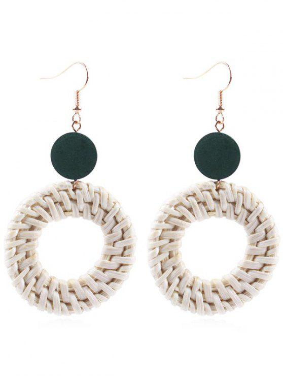 Circle Straw Drop Earrings - Verde de Jungla
