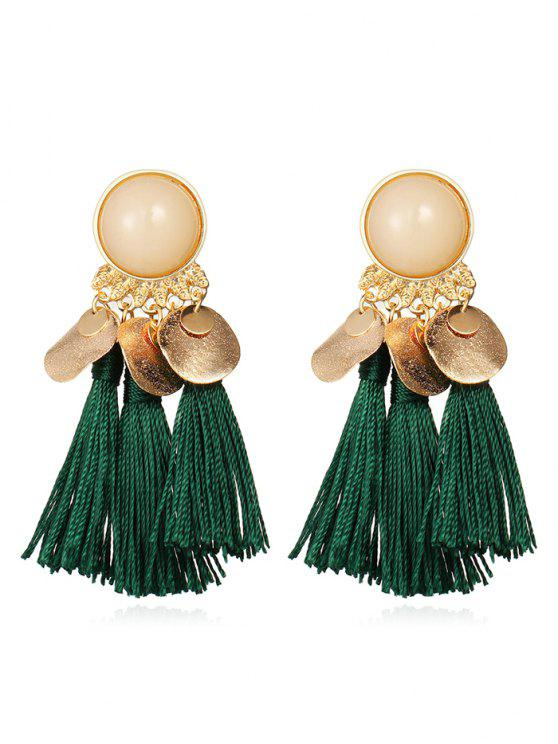 best Bohemian Disc Tassels Earrings - MEDIUM SEA GREEN
