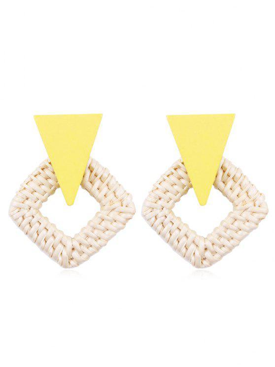 Rhombus geflochtene Stroh Ohrringe - Gelb