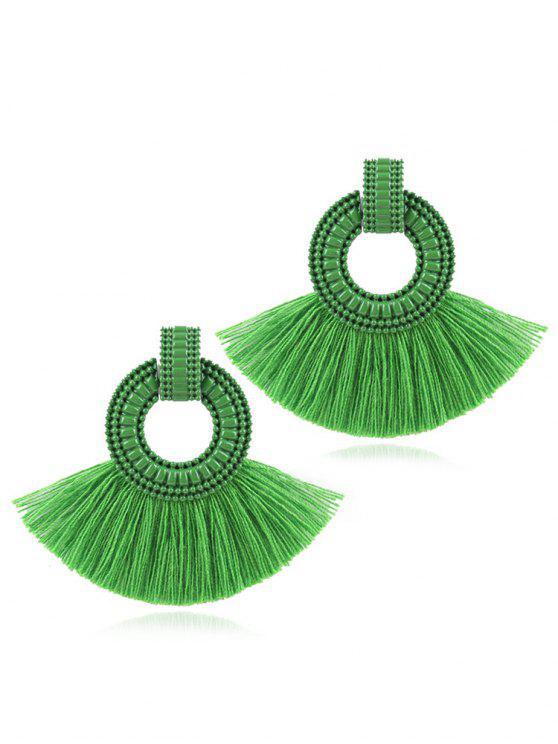Orecchini Tondi Con Nappe - Verde Nebuloso