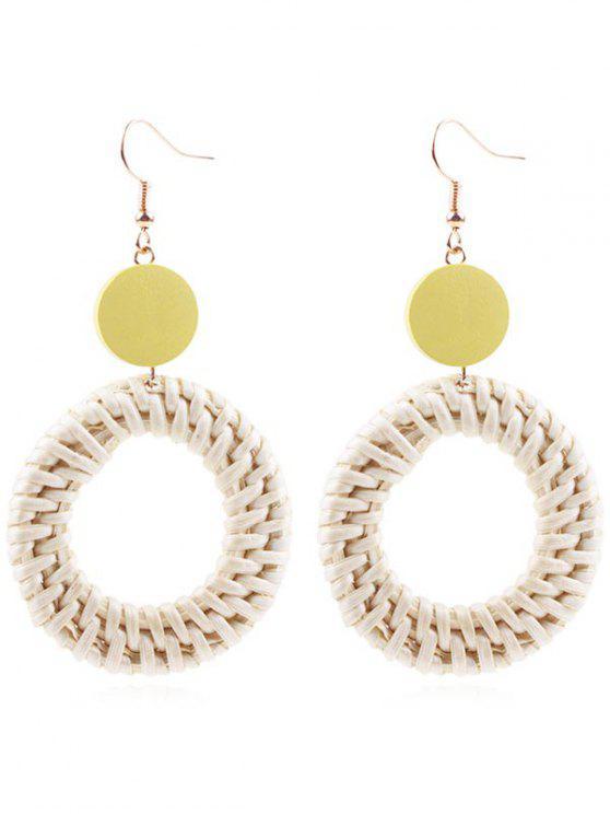 new Circle Straw Drop Earrings - SUN YELLOW
