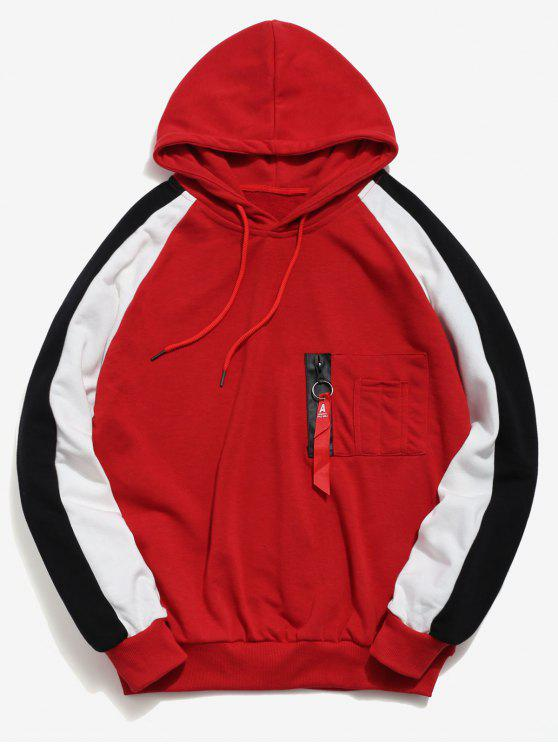 fancy Zipper Pockets Raglan Sleeve Contrast Hoodie - RED L