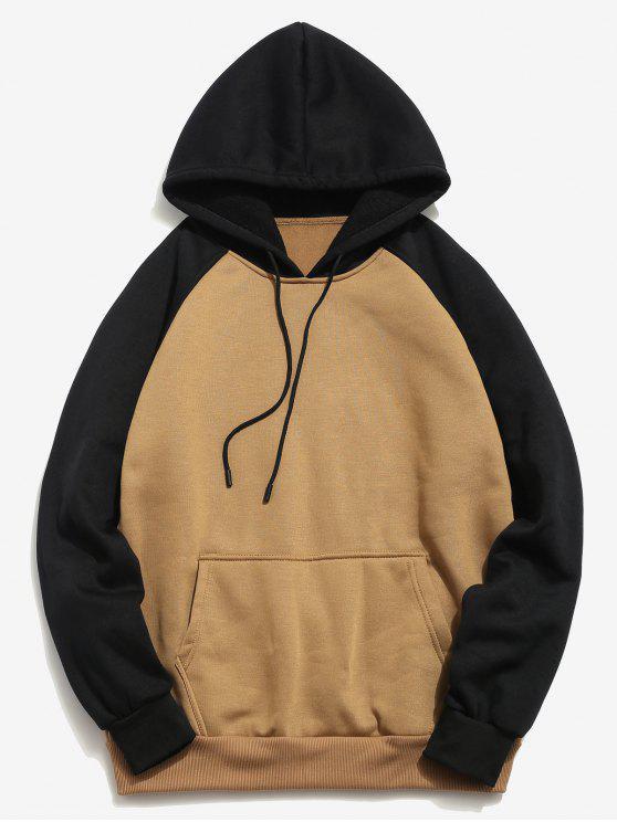 fashion Color Block Pullover Hoodie - DARK KHAKI XL