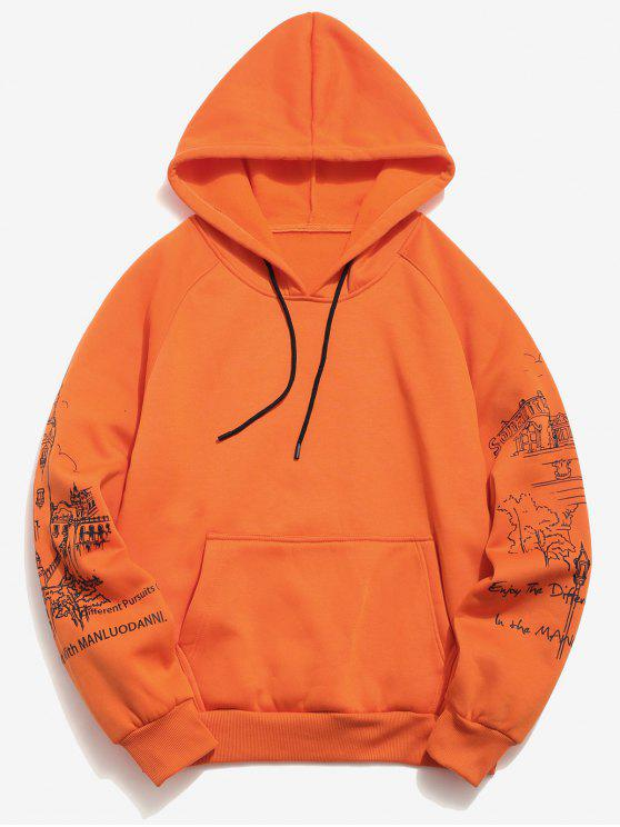 shops Raglan Sleeve Buildings Print Hoodie - PUMPKIN ORANGE L