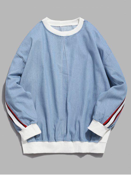 Gestreifte Drop Shoulder Pullover Sweatshirt - Denim Blau M