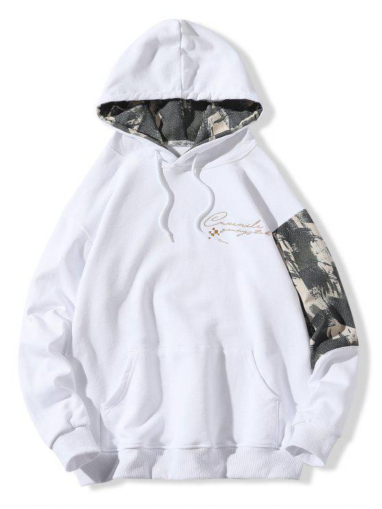 Patchwork Sleeve Buchstabedruck Känguru Pocket Hoodie - Weiß M