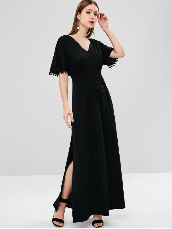 hot Slit Smocked Open Back Maxi Dress - BLACK M