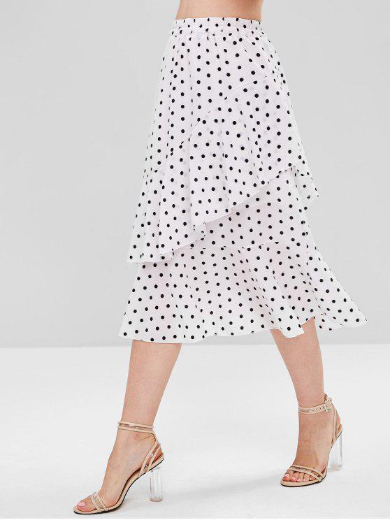hot Tiered Ruffles Polka Dot Skirt - WHITE ONE SIZE