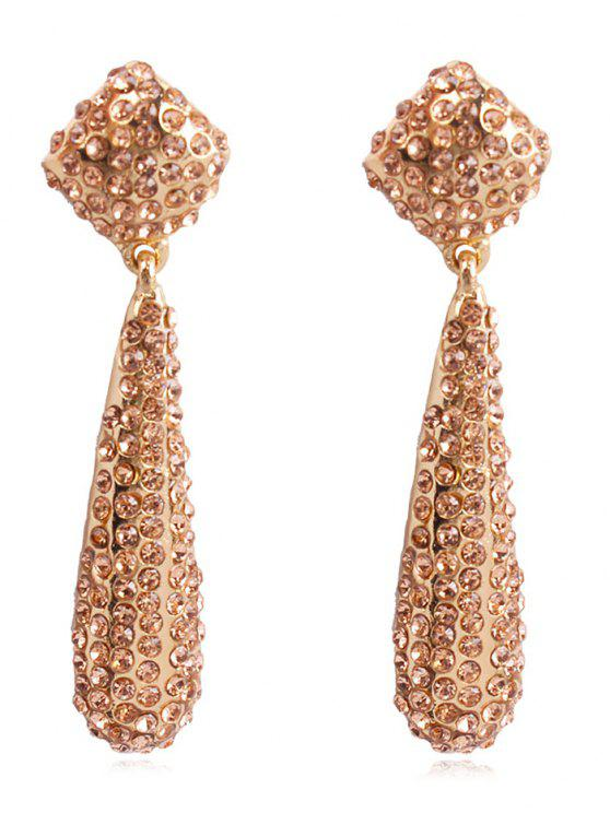 womens Teardrop Rhinestone Drop Earrings - CHAMPAGNE GOLD