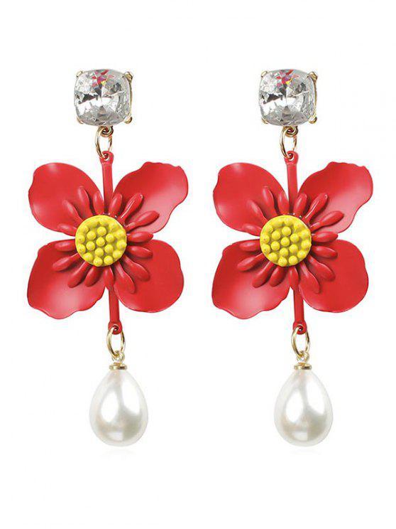 Blumen-Faux-Perlen-Tropfen-Ohrringe - Kastanie Rot
