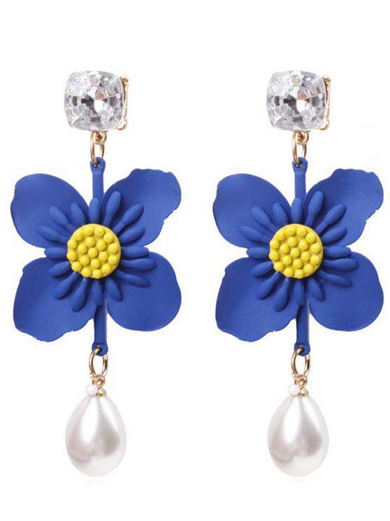 Brincos de gota de flor pérola do falso - Orquídea Azul