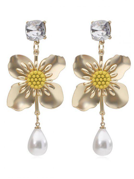 Blumen-Faux-Perlen-Tropfen-Ohrringe - Gold