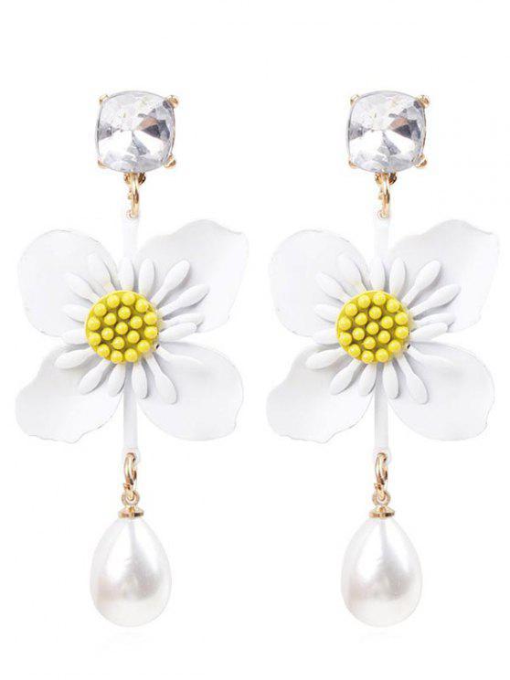 Brincos de gota de flor pérola do falso - Branco