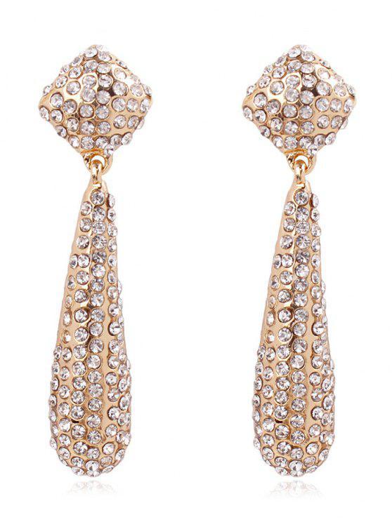 fancy Teardrop Rhinestone Drop Earrings - WARM WHITE