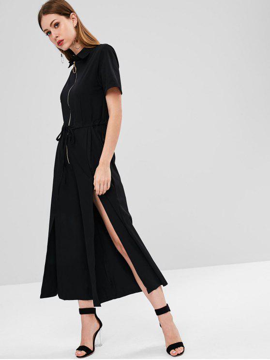 outfits Half-zip Slit Wide Leg Jumpsuit - BLACK XL