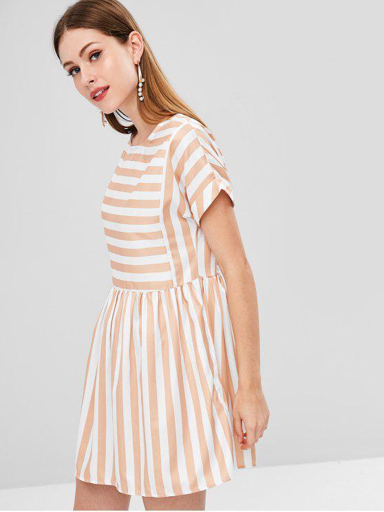 Gestreiftes Gerades Ausgeschnittenes Kleid - Multi 2XL