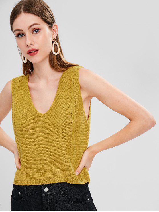 unique Cable Knit V Neck Vest Sweater - GOLDEN BROWN ONE SIZE