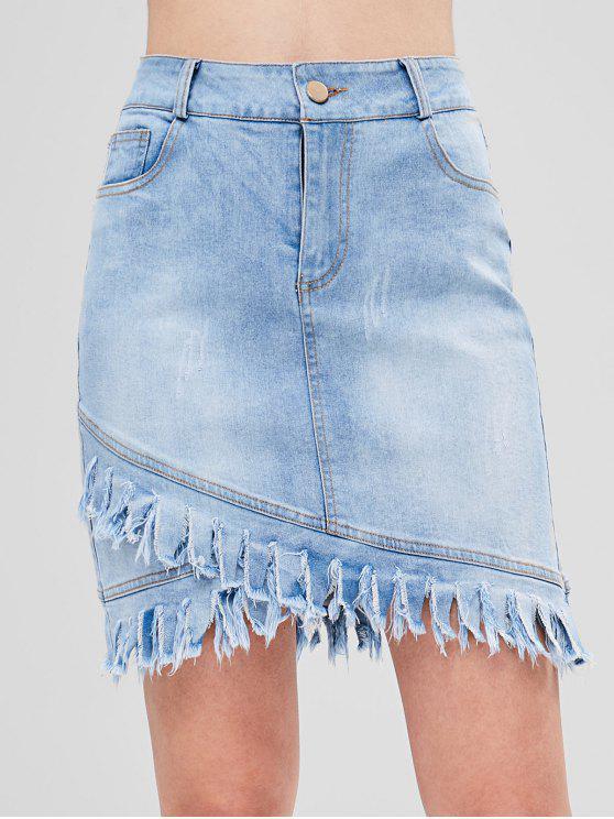 Asymmetrischer Jeansrock Mit Fransen Saum - Jeans Blau L